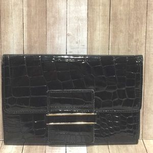 Look Inn Co Ltd Black Patent Leather Slim Clutch